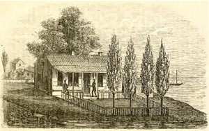 The Kinzie house, across the river from Ft. Dearborn, in 1832.