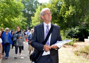 Graham Dudley walks around the Swiss Cottage development site Picture