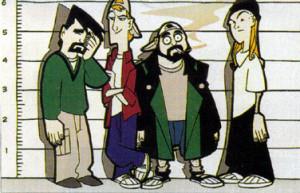 Dante, Randal, Silent Bob and Jay. Huh... thought Silent Bob was ...