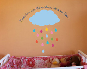 Somewhere over the rainbow skies ar e blue 36x34.5 Baby Nursery Vinyl ...
