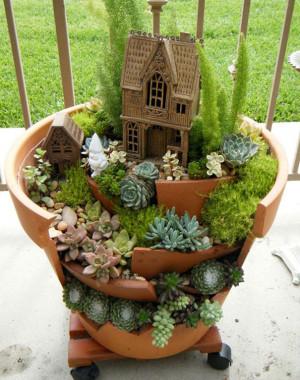 ... succulents fairy garden gardening upcycling gnomes sedums Broken pots