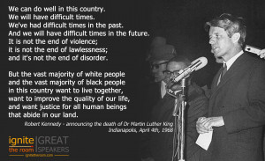 Robert F Kennedy announces death of Martin Luther King