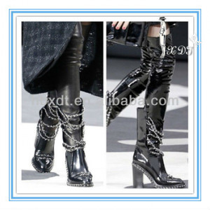 ... boots!black leather thigh high boots!thick heel motorcycle boots