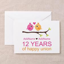 12th Wedding Anniversary Greeting Cards (Pk of 20) for
