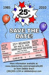 Tickets Class Reunion Save the Date Cards are personalized with your ...