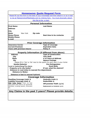Mobile Home Insurance Quote Form