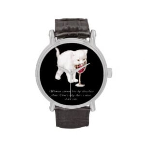 Cat Chocolate and Wine Lovers Quote Watch