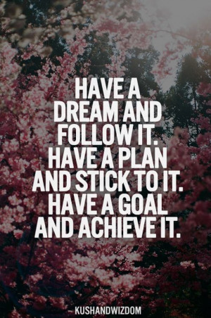 have a dream and follow it have a plan and stick to it have a goal and ...