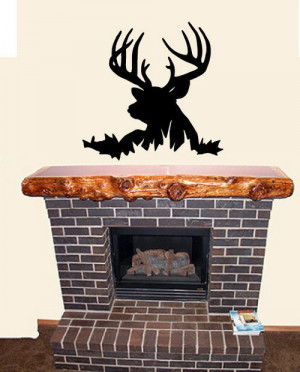 Wall Sticker Decal Quote Vinyl Deer Head Silhouette Buck Hunting Wall ...