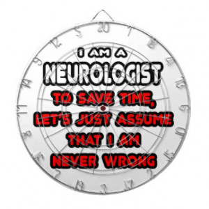 Funny Neurologist T-Shirts and Gifts Dartboard With Darts