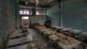 This photo is of an abandoned classroom in Pripyat, a Chernobyl ...