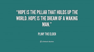 Hope is the pillar that holds up the world. Hope is the dream of a ...