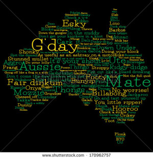 Australia map made from Australian slang words in vector format ...
