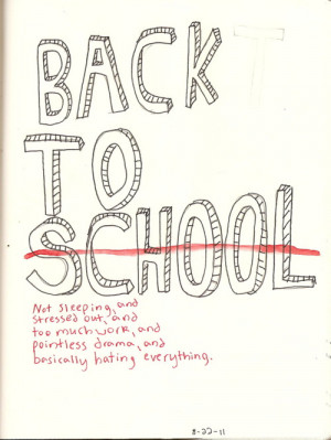 ... school. Back to teacher. Back to teenage drama. And back to