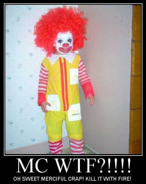 funny scary kid dressed up like Ronald McDonald caption picture