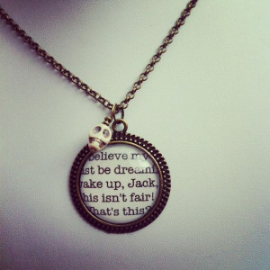 nightmare before christmas jack skellington quote necklace with skull ...