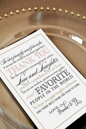 ... Wedding Thank You Note for Guests, Calligraphy, Welcome Bag Tag