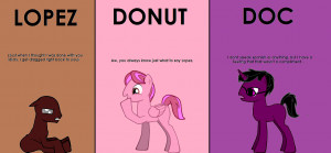 Lopez, Donut and Doc in pony form by DarkWingxJonathan