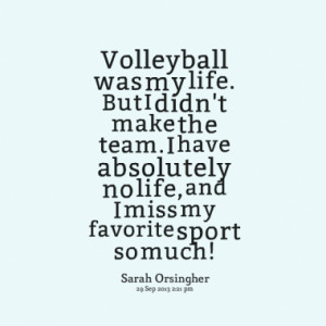 Volleyball was my life. But I didn't make the team. I have absolutely ...