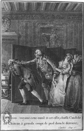 ... effect, threw Candide out of the castle with many a kick to the rear