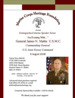 the Washington, DC area August 6 and would like to meet General Mattis ...