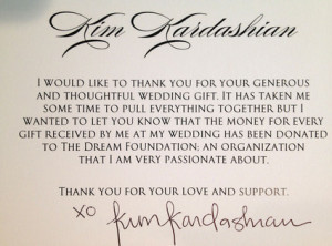Wedding Gift Contribution Message : Kim Kardashian Makes Donation to Charity for Wedding Gifts Received