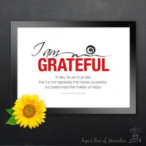 AM GRATEFUL 5x7 Inspirational Quote Print with Original Gratitude ...