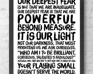 Powerful Beyond Measure. Marianne Williamson Nelson Mandela quote ...