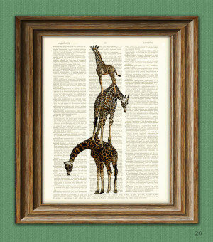 Funny Giraffe Sayings Giraffe art print a tower of