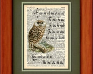 Dictionary Art Print - A Wise Old Owl - 6 3/4