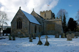 The churchyard of Elmley Castle Church, Worcestershire, Great Britain
