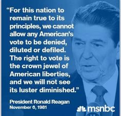 Ronald Reagan on voting rights. More