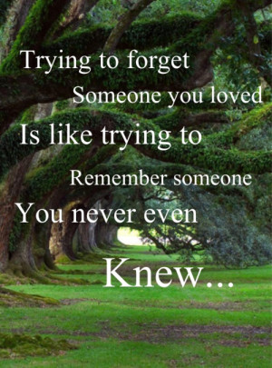 Trying to forget someone you loved is like trying to remember someone ...