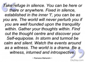 take refuge in silence ramana maharshi