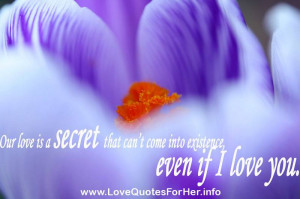 forbidden love quotes - Our love is a secret that can't come into ...