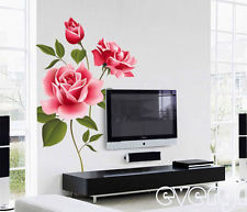 Romantic 3D Love Rose Flower Removable PVC Wall Decals Sticker Home ...