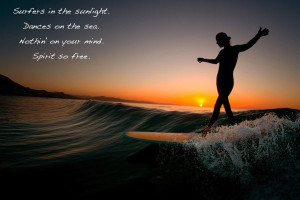 Surfing Quotes Surfer dancing sunset quote