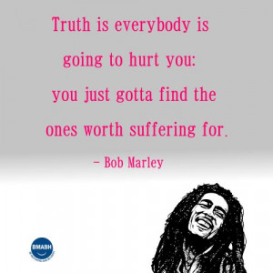 Bob Marley picture quotes-Truth is everybody is going to hurt you,you ...