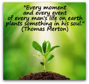 "... man's life on earth plants something in his soul. "" ~ Thomas Merton"