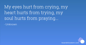 My eyes hurt from crying, my heart hurts from trying, my soul hurts ...