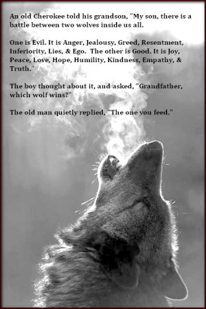son, there is a battle between two wolves inside us all. One is Evil ...