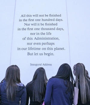 Students reading Inaugural quote