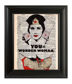 Wonder Woman typography print based on a quote from the comic Wonder ...