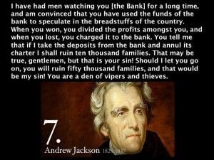 Andrew Jackson on bankers