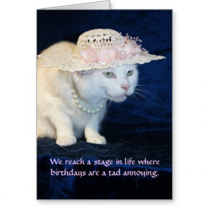 Customizable Funny Cat Birthday for Older Woman Greeting Card