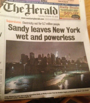 Sandy leaves New York wet and powerless… that's what she said