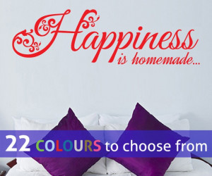 HAPPINESS IS HOMEMADE quote vinyl wall sticker decal
