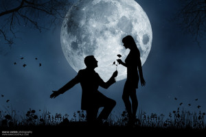 Romantic proposal under full moon.