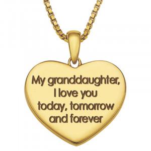 My Granddaughter, I'll Love You Forever Diamond Pendant - back