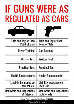 If guns were as regulated as cars… – Anonymous